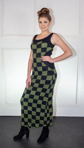 Ladies Summer Checkered Dark Green and Black Dress