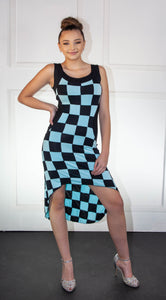 Ladies High-Low Light Blue and Black Checkered Summer Dress