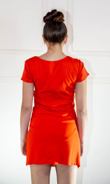 Ladies Summer Orange Short Dress