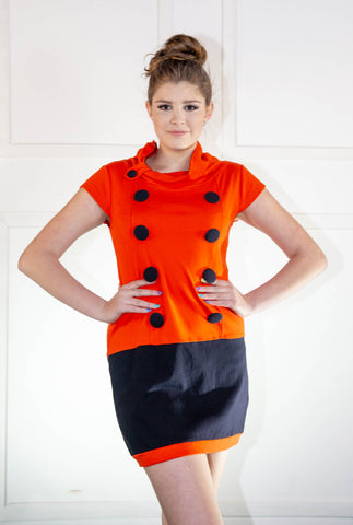 Ladies Summer Orange Short Dress With Buttons