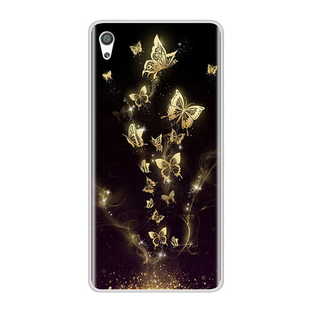 Phone Case For Sony Xperia XA XA1 Ultra Plus Soft Silicone TPU Fashion Flower Painted Back Cover For Sony Xperia XZ Premium Case
