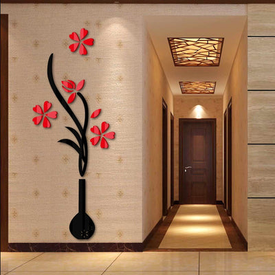 Wall stickers home decor 3d Diy Acrylic sticker for  living rooms Modern Large plant flower wall art