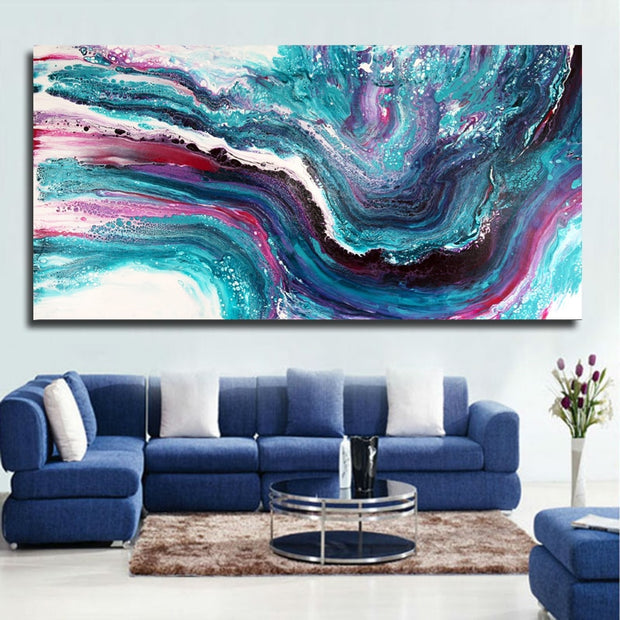 Abstract Art Watercolor Blue Painting Big Size Wall Pictures for Living Room Modern Decorative Painting Unframed