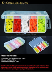 Free Shipping Artificial Soft Fishing Lure Shad Silicone Worm Bait Set Easy Shiner Lure Kit Strong Flshy Smell YU018