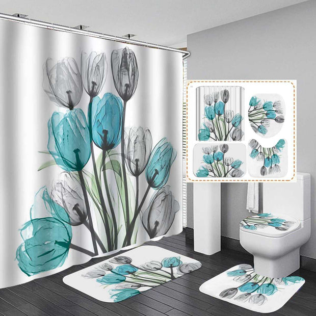 180x180cm Waterproof Flowers Shower Curtain Sets +Non-Slip Rugs Toilet Lid Cover and Bath Mat