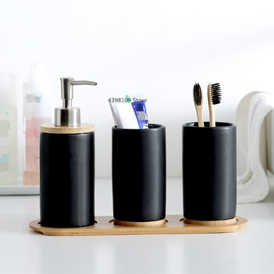 Black matt ceramic bathroom accessories set soap dispenser / toothbrush holder bathroom kitchen utensils storage container