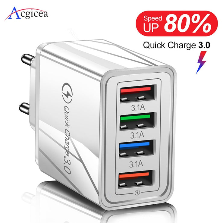 USB Charger Quick Charge 3.0 For Phone Adapter for iPhone XR Huawei Tablet Portable EU/US Plug Wall Mobile Charger Fast Charging