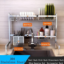 Load image into Gallery viewer, stainless steel tableware sink drain rack dish rack foldable kitchen desktop storage supplies dry storage rack accessories