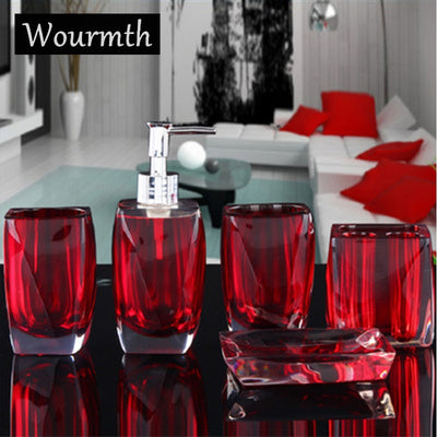 5pc High-quality Resin Bath Utensil Set Creative Liquid Container Set Bathroom Wash Set Soap Dish Toothbrush Cup Marry Gift