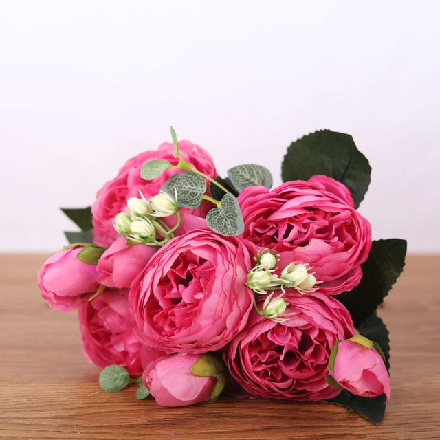 Rose Pink Silk Bouquet Peony Artificial Flowers 5 Big Heads 4 Small Bud Bride Wedding Home Decoration Fake Flowers Faux