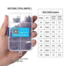 Load image into Gallery viewer, DONQL 300pcs/Box High Carbon Steel Fishing hooks Mixed Size Barbed jig hook Carp Fishing Jig Head for Fly fishing Accessories
