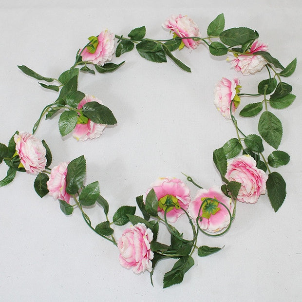 Peony Silk Artificial Flowers High Quality Vine Ivy Rattan Plastic Fake Flower Garland for Wedding Home Decoration Bright Colors