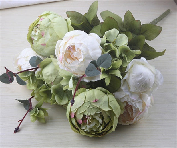 European Artificial Peony Decorative Party Silk fake Flowers Peonies For Home Hotel decor DIY Wedding Decoration wreath