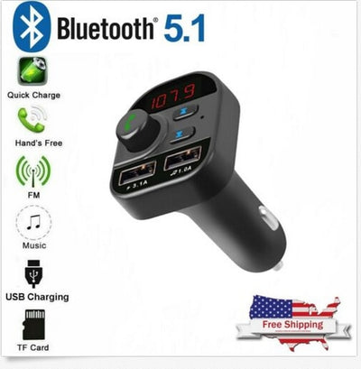 Bluetooth 5.1 Car Wireless FM Transmitter MP3 Radio Adapter Kit 2 USB Charger Car Charger Car Accessories Interior Auto Product