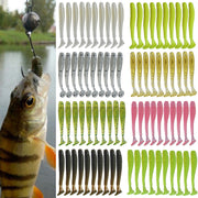 20pcs/lot Jig Wobblers Fishing Lures Worm T Tail Soft Bait 50mm 0.8g Artificial Silicone bait Carp Bass Swimbaits Fishing Tackle