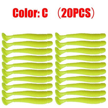 Load image into Gallery viewer, 20pcs/lot Jig Wobblers Fishing Lures Worm T Tail Soft Bait 50mm 0.8g Artificial Silicone bait Carp Bass Swimbaits Fishing Tackle
