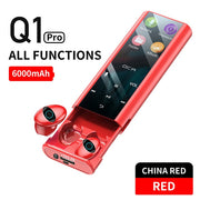 QCR Q1 Wireless bluetooth earphone earbuds Multi-function MP3 Player Headest IPX7 Waterproof 9D TWS earphone 6000mAh Power Bank