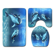 Dolphin Printed Pattern Shower Curtain Bathroom Mats Anti Slip Pedestal Rug Lid Toilet Cover Mat Bath Mat Set Bathroom Curtains