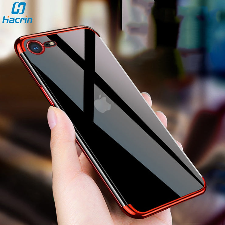 Case For iPhone SE 2020 Case Soft TPU Transparent Clear Laser Plating Cover For iPhone SE2 SE 2 Case Protective Bumper