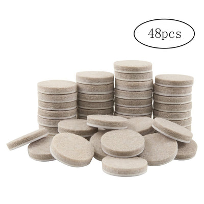 48PCS Round Thicker Felt Furniture Pads (1 Inch Diameter) For Hard Surfaces Floor Protectors