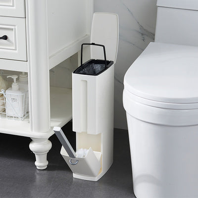 Bathroom trash bucket Set Waste Bin Plastic with Toilet Brush Bathroom Dustbin Trash Cans Garbage Bucket Garbage Bag Dispenser