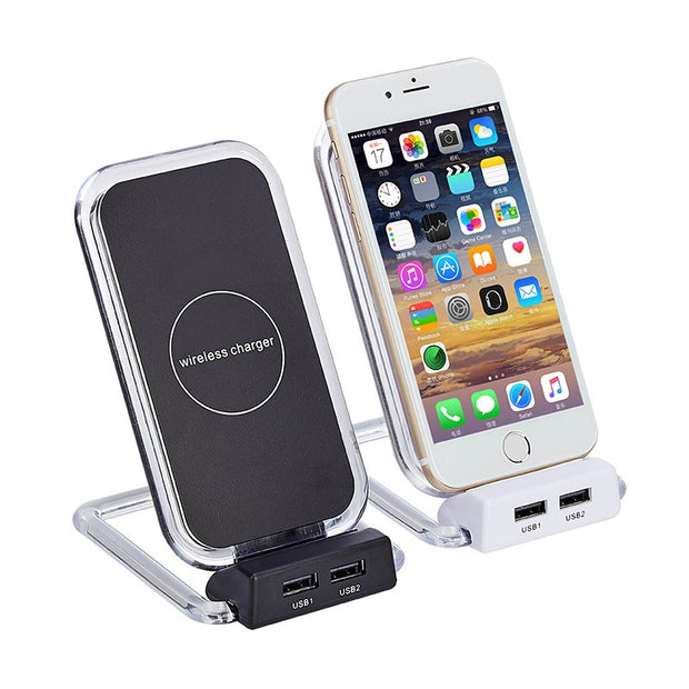 Double USB Input Port Wireless Charger Stand Dock Dual Coil Phone Charger Auto Product Car Adaparter Car Accessories