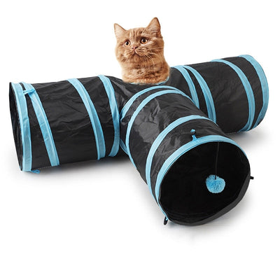 Games For Cats Tunnel Ferret Cats Products For Pets Cats Accessories Cat Tube 2 Holes Play Tubes Balls Collapsible Crinkle Toys