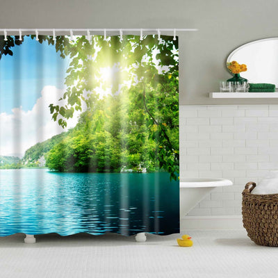 Waterproof Polyester fabric 3D Bath curtain forest for Bathroom curtain Green Plant beach Shower curtain