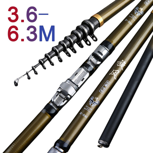 High Carbon 3.6M 4.5M 5.4M 6.3M Fishing Rod Spinning M Power Portable Telescopic Spinning Rod Ultralight Rock Fishing Rod