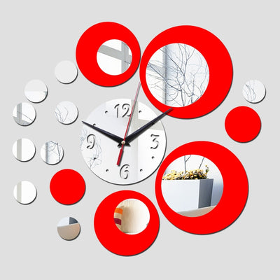 silver big flower quartz acrylic wall clock  luxury design 3d mirror clocks watch