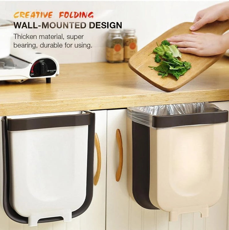 Wall Mounted Folding Waste Bin Kitchen Cabinet Door Hanging Trash Bin Garbage Car Trash Can Wall Mounted Foldable Cleaning