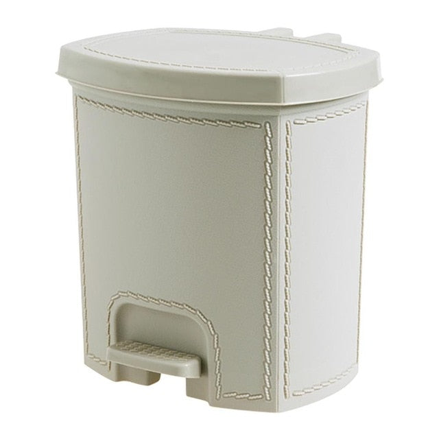 Leather Trash Can Foot Pedal Type Trash Bin Plastic Dustbin Wastebasket Kitchen Living Room Garbage Storage Bin Can