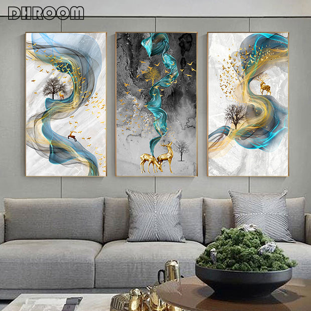 Modern Abstract Golden Deer Painting Big Size Poster Blue Print Gold Wall Art Picture for Living Room Modern Cuadros Canvas Art