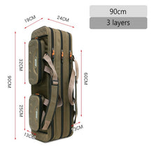 Load image into Gallery viewer, 2/3/4 layer 80/90/100/120CM Fishing Bag  Multifunctional Fishing Rod Reel Lure Pole Storage Bag Case Fishing Gear Tackle  XA153G