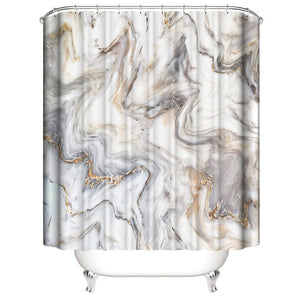 Marble Shower Curtain Sets With Non-slip Bathroom Rug,Toilet Lid Cover,Bath Mat,Durable Waterproof Bath Curtain For Bathtub