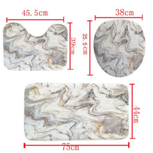 Load image into Gallery viewer, Marble Shower Curtain Sets With Non-slip Bathroom Rug,Toilet Lid Cover,Bath Mat,Durable Waterproof Bath Curtain For Bathtub