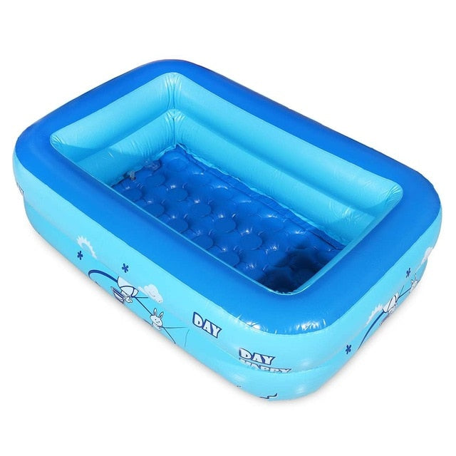 Large Inflatable Outdoor Children Paddling Bathtub Water Baby Swimming Bath Pool Blue PVC Rectangle 120x70cm Anti-slip