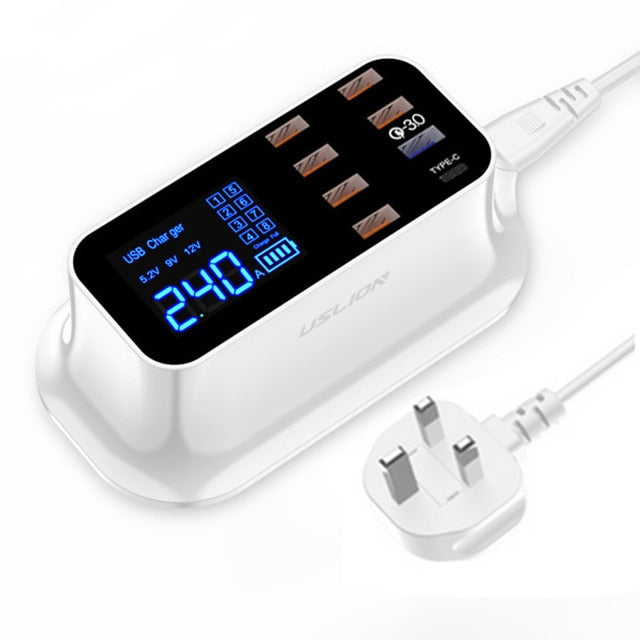 8 Port USB Charger HUB Quick Charge 3.0 LED Display Multi USB Charging Station Mobile Phone Desktop Wall Home EU Plug