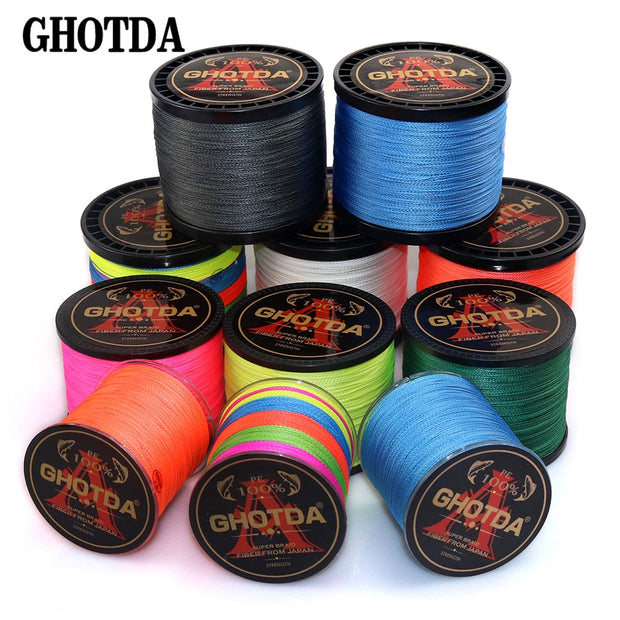 GHOTDA Braid Fishing line 300M 500M 1000M 4 Strands Multifilament Fishing Wire Carp Fishing 10-120lb