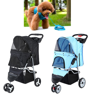 Dog /Puppy /Cat Trolley Cart Folding Stroller 3 wheels Pet Seat Travel Accessories