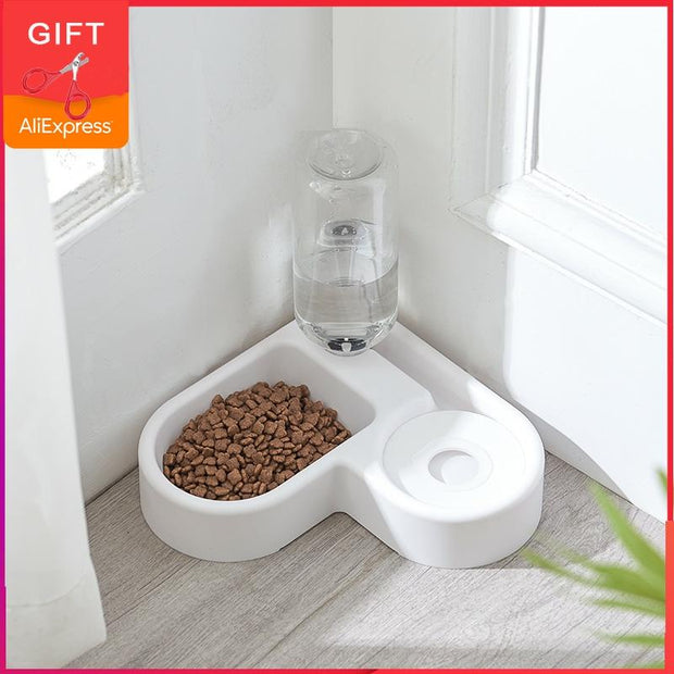 Pet Cat Feeder Bowl Dog Automatic Water Double Bowls Food Wall Corner Save Space Cats 500ml Bottle Drinking Kitten Dogs Products