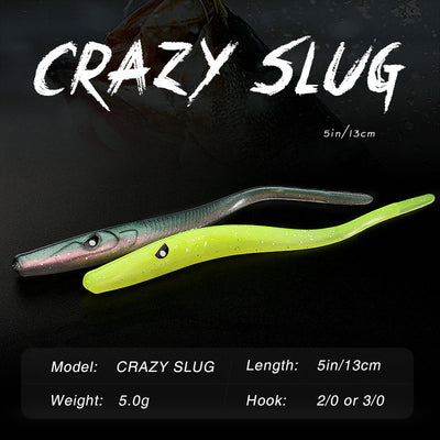 ALLBLUE Crazy Slug 130mm 6pcs/bag Soft Fishing Lure Seabass Artificial Bait Silicone Worm Shad Eel Needfish Fishing Tackle