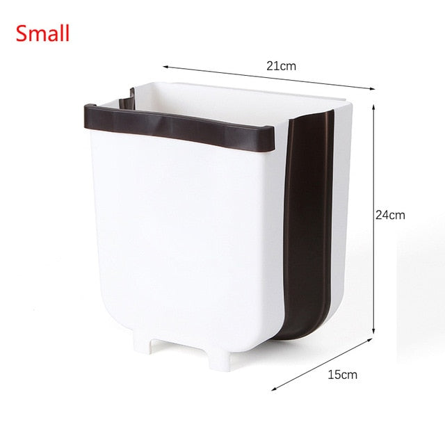 Wall Mounted Folding Waste Bin Kitchen Cabinet Door Hanging Trash Bin Car Garbage Trash Can for Bathroom Toilet Waste Storage