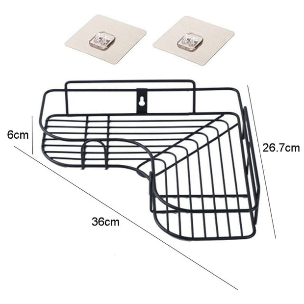 Punch-free Bathroom Shelf Shampoo Cosmetic Storage Rack Wall Mounted Kitchen Plastic Organizer Holder Home Bathroom Accessories