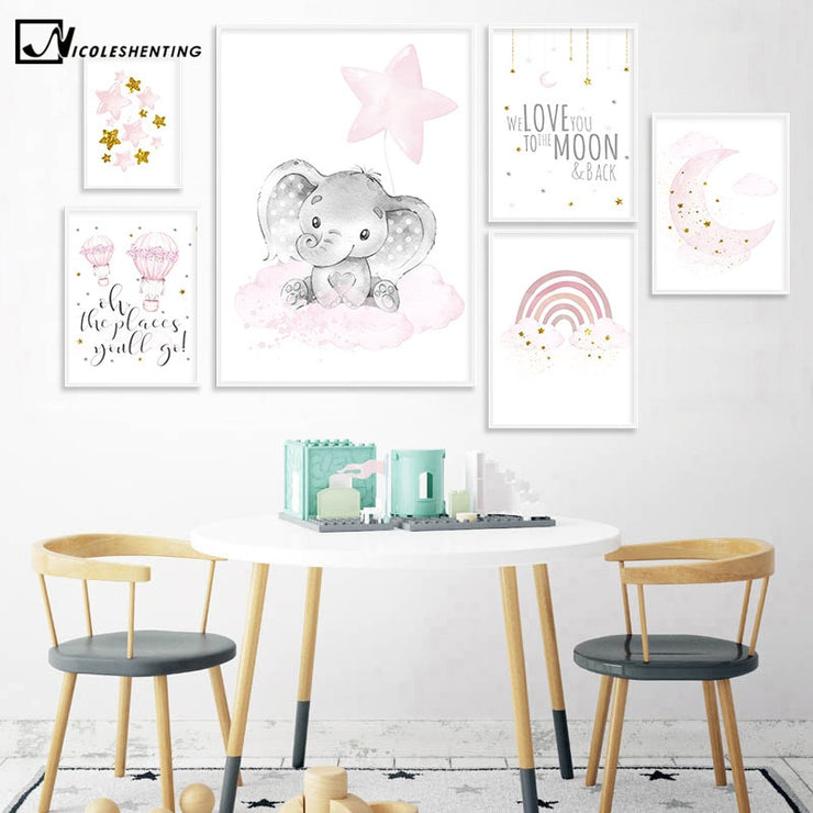Child Poster Baby Nursery Wall Art Canvas Print Cartoon Rainbow Painting Calligraphy Nordic Kids Girl Bedroom Decoration Picture