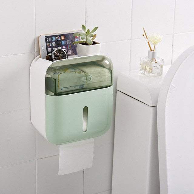Waterproof Toilet Paper Holder Plastic Wall Mounted For Toilet Paper Towel Bathroom Shelf Storage Box Tray Toilet Roll Holder