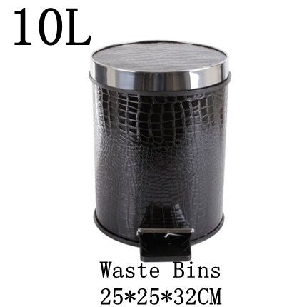 Black Crocodile Household Pedal Trash Can Fashion Creative Kitchen Bathroom Living Room Waste Bins Office Paper Basket