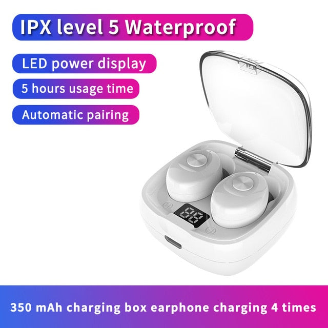 Bluetooth Earphone Wireless headphone Sport Earpiece Mini Headset Stereo Sound  In Ear IPX5 Waterproof tws 5.0   power display