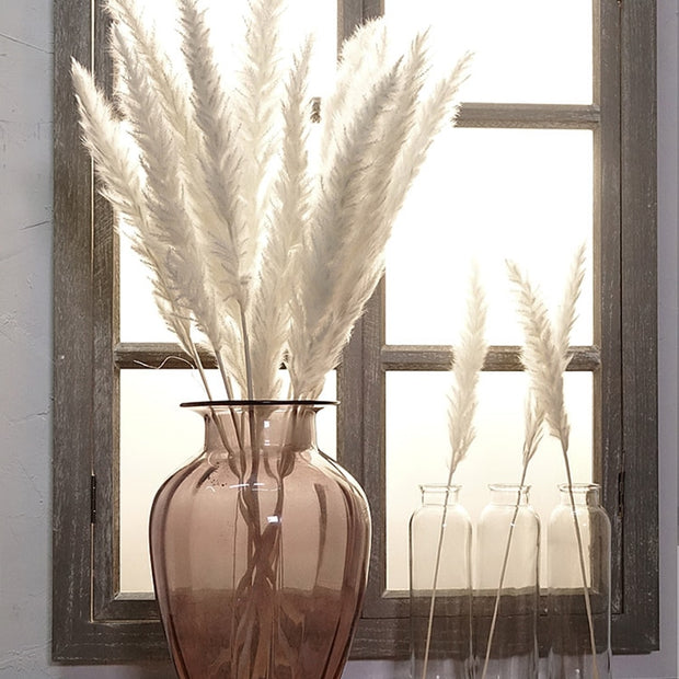 Natural Dried Small Pampas Grass Phragmites Artificial Plants Wedding Flower Bunch for Home Decor Fake Flowers
