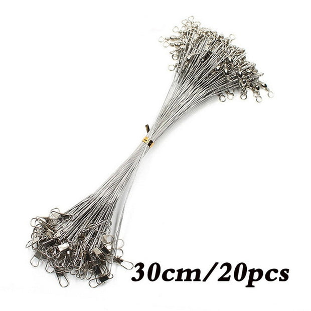 Anti Bite Steel Fishing Line Steel Wire Leader With Swivel Fishing Accessory Lead Core Leash Fishing Wire 15CM-50CM
